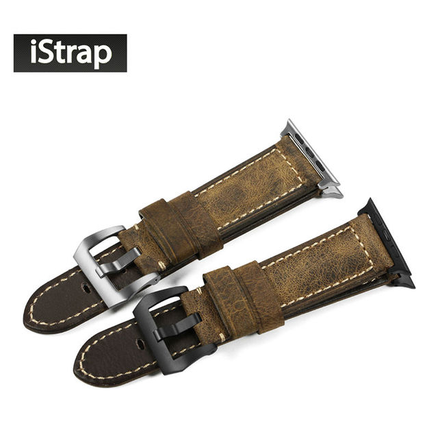 iStarp 42mm Vintage Assolutamente Italian leather Watch Strap For iWatch buckle adapter fit for Apple watch band for 42mm case
