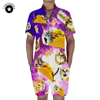 Galaxy Cat Pizza Print Rompers Men Set Short Sleeve 3D Jumpsuit Summer One Piece Funny Playsuit Harem Cargo Overalls Dropship