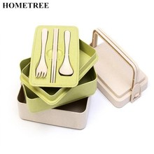 HOMETREE 1 Pcs Hand Mention Wheat Three layers Chopsticks Spoons Forks Set Box Lunch Boxes Food Container Lunchbox Cutlery H578