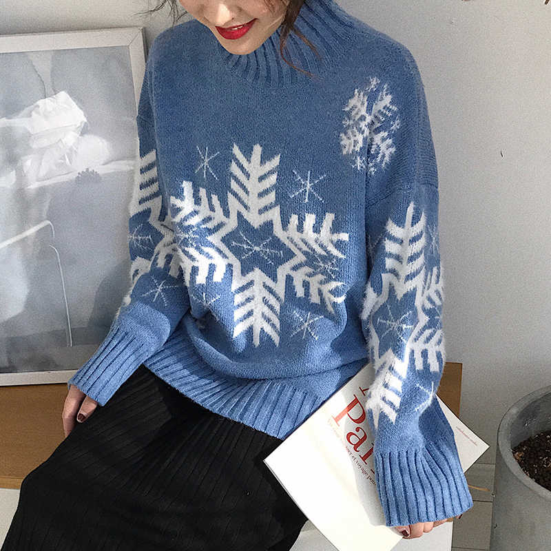 Ugly Christmas Sweaters 2019.Vintage Ugly Christmas Sweater Snowflake Print Knitted Jumper Loose Women S Sweater 2019 Autumn Winter Soft Turtleneck Pullover