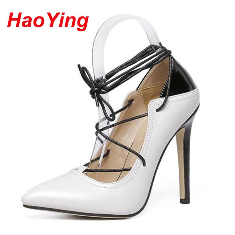 stiletto heels shoes pumps strappy lace up Spring Summer Woman pointed toe high white bridal D485