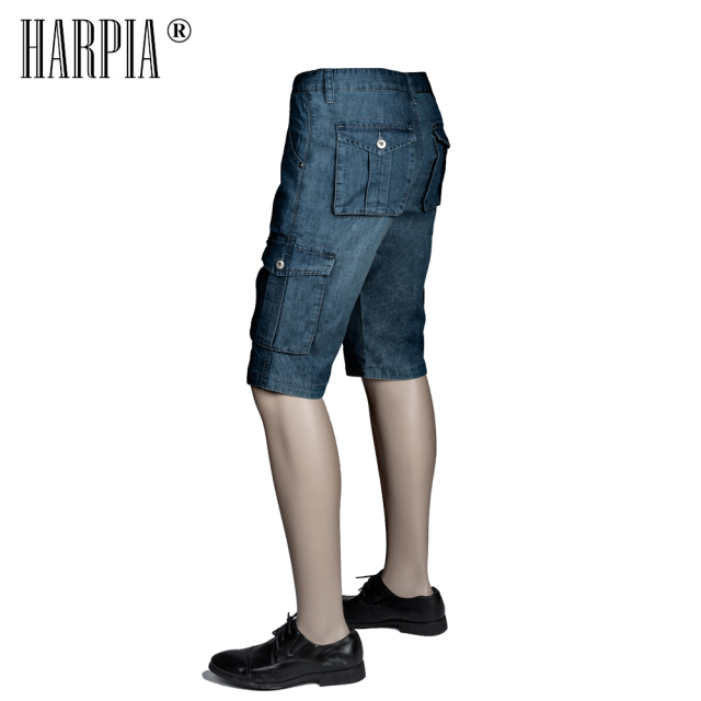 HARPIA Classic Mens Cargo Jeans Shorts Men Multi-pocket Jeans Blue Loose Straight Denim Shorts Male Cotton Plus Size Short Pants
