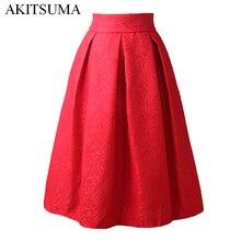 New Faldas 2017 Summer Style Vintage Skirt High Waist Work Wear Midi Skirts Womens Fashion red black Jupe Femme Saias AKITSUMA