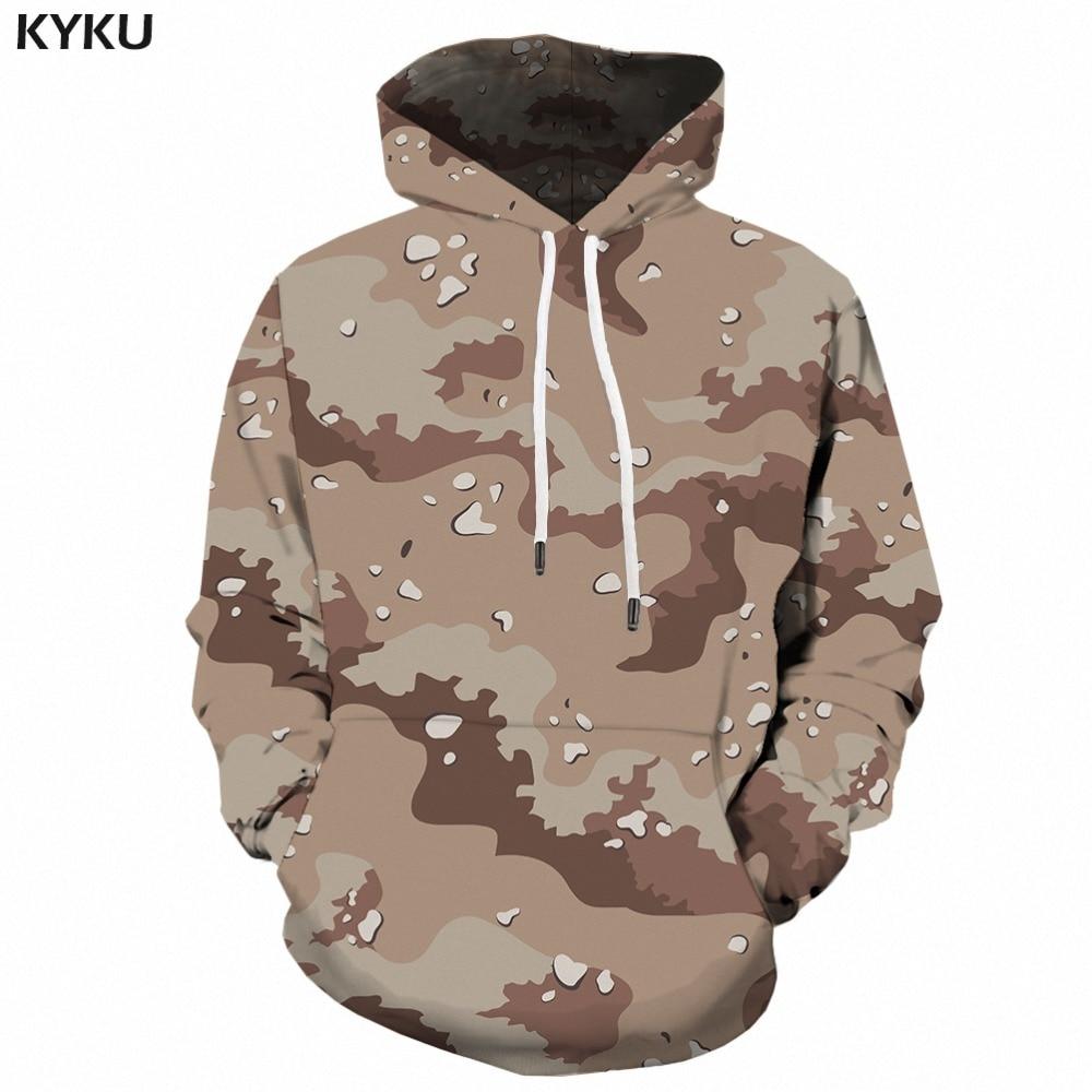KYKU Grey Camo Hoodie Men Camouflage Sweatshirt Harajuku 3d Printed Hoodies Anime Clothes Retro Military Mens Clothing Autumn