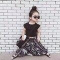 Новая мода девушки комплект одежды лета черная рубашка с шифон широкие брюки для 2-6years девочка одежда детей и chidlren