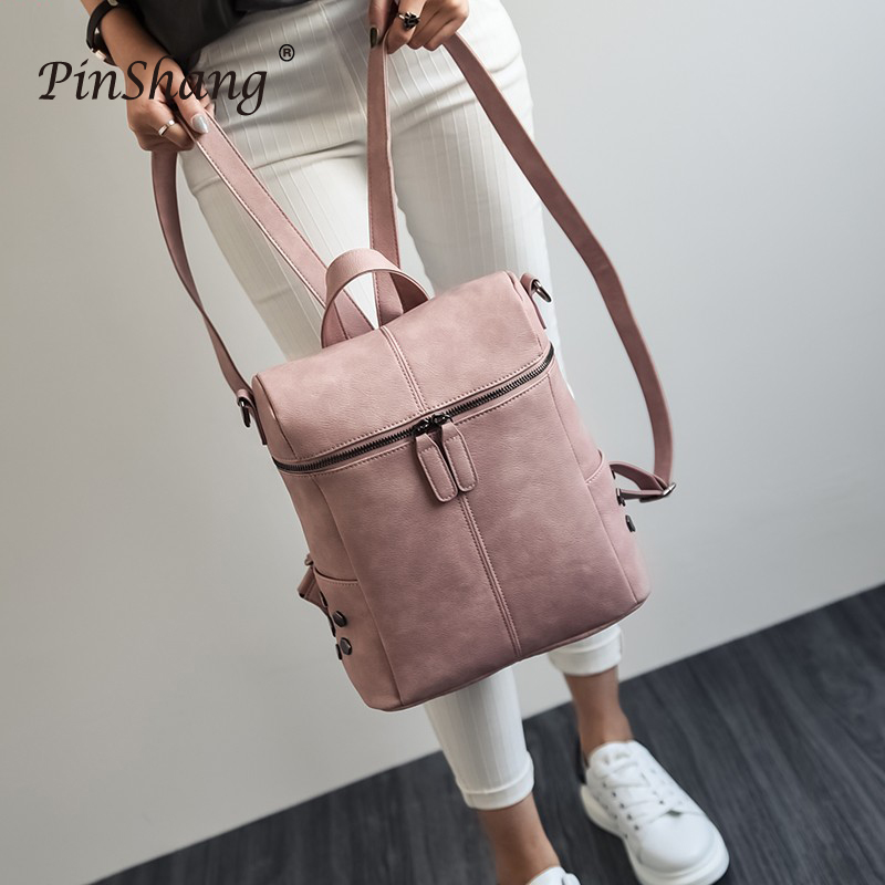 Women's PU Leather Backpack Rivets Bag Casual Simple Double Shoulder Student Backpack Fashionable Large Capacity Travel Bag ZK29