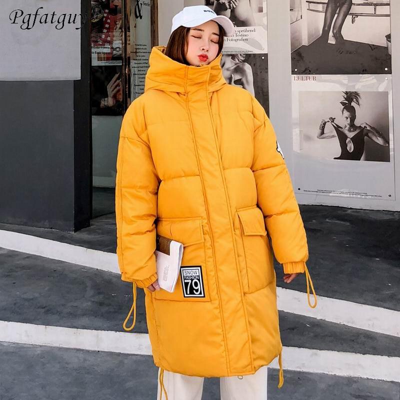 Longue De jaune Style Noir Chaud Le blanc Femmes Bas Vêtements Coton Européen Épaissir Capuchon Vestes D'hiver Femme À Parkas Vers 2018 rouge Neige Manteaux Jaune HtdAxqSq