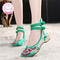 Women Plus Size 43 Hibiscus Embroidery Hasp Shoes Old Peking Mary Jane Soft Sole Casual Flats Green+Black+Red+Blue Dance Shoes