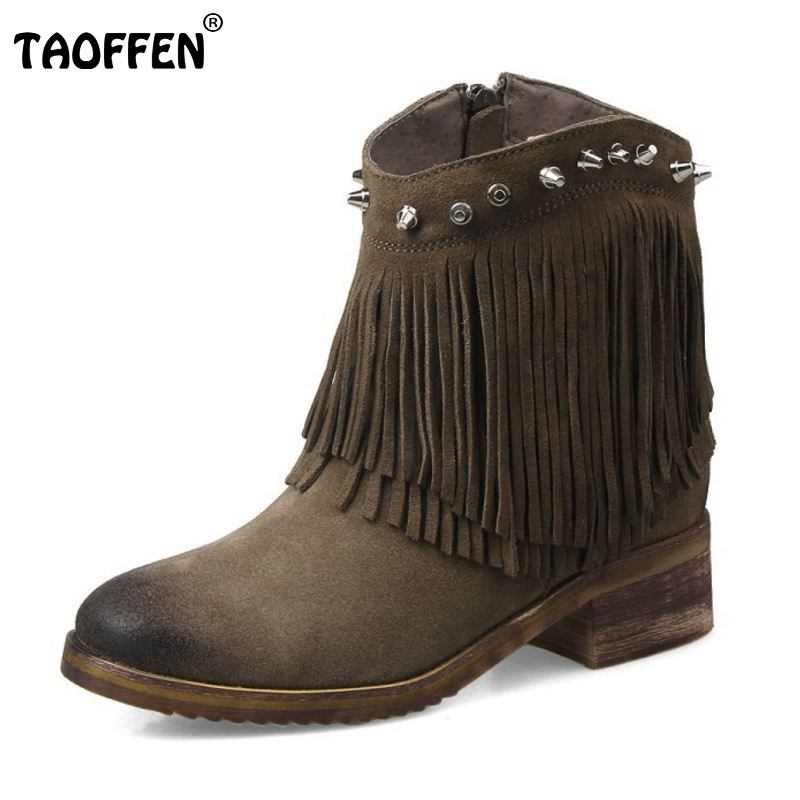 Autumn Winter Ankle Boots High Heel Fringe Boot Women Fashion Gladiator Tassel Rivets Botas De Inverno Size 33-43 women winter suede colorful ankle boots fringe rivets short boots square heel women fashion winter tassel boots shoes