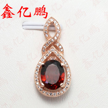 925 silver inlaid natural garnet pendants