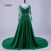 LORIE Long Sleeve Lace Emerald Green Evening Dress Scoop A Line Chiffon Formal Plus Size Prom