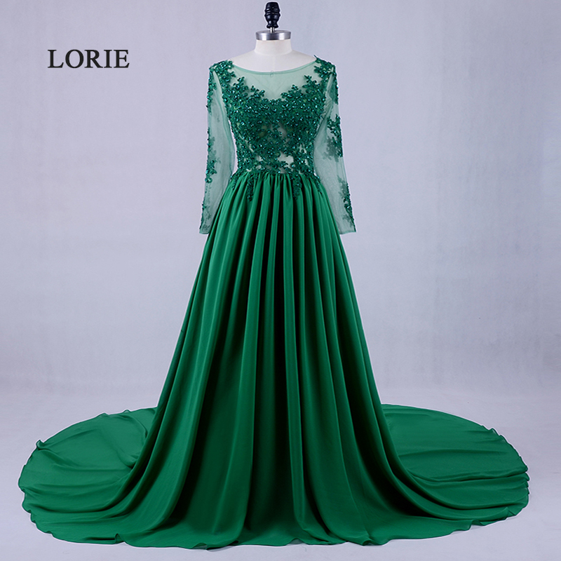 f9b4b2122c7 LORIE Long Sleeve Lace Emerald Green Evening Dress Scoop A-Line Chiffon Formal  Plus Size Prom Dress Mother of the Bride Gown
