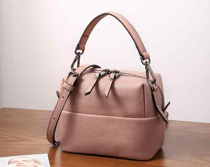 Женская сумка Новая мода натуральная кожа мягкая Маленькая женская сумка через плечо с двойными ремешками шикарные стильные сумки