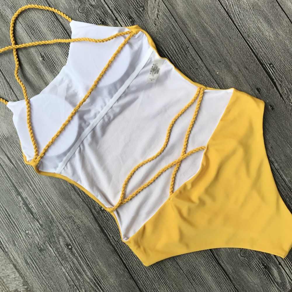 2019 сексуальный цельный купальник женский однотонный черный стринги с открытой спиной s m onokini купальный костюм s m l