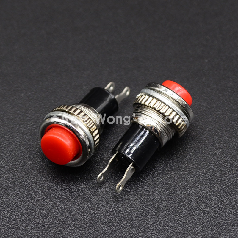 5pcs/LOT Red 10mm Thread Multicolor 2 Pins Momentary Push Button Switch 3A/125V 1A/250V DS-316