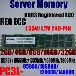 Pamięć serwera DDR3 16GB 1866MHz PC3 14900R 32GB DDR3L 1600 PC3 12800R 8G 1333MHz 10600R 8500R 1066MHz zarejestrowanych ECC pamięci RAM w RAM od Komputer i biuro na
