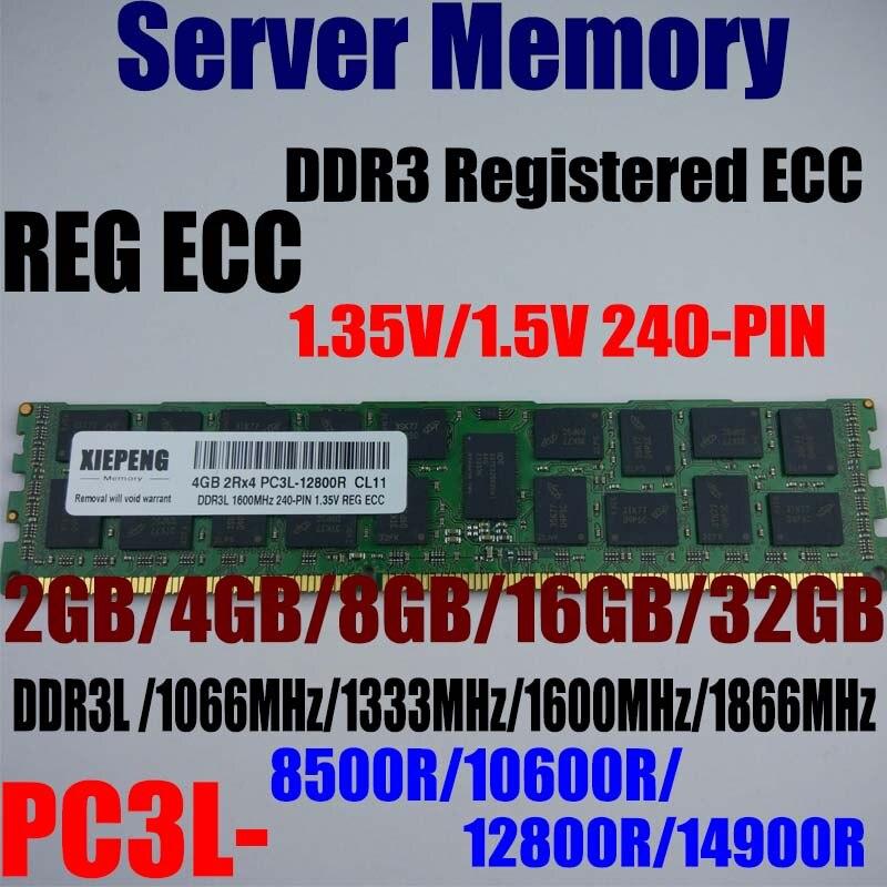 Server Memory DDR3 16GB 1866MHz PC3-14900R 32GB DDR3L 1600 PC3 12800R 8G 1333MHz 10600R 8500R 1066MHz Registered ECC RAM
