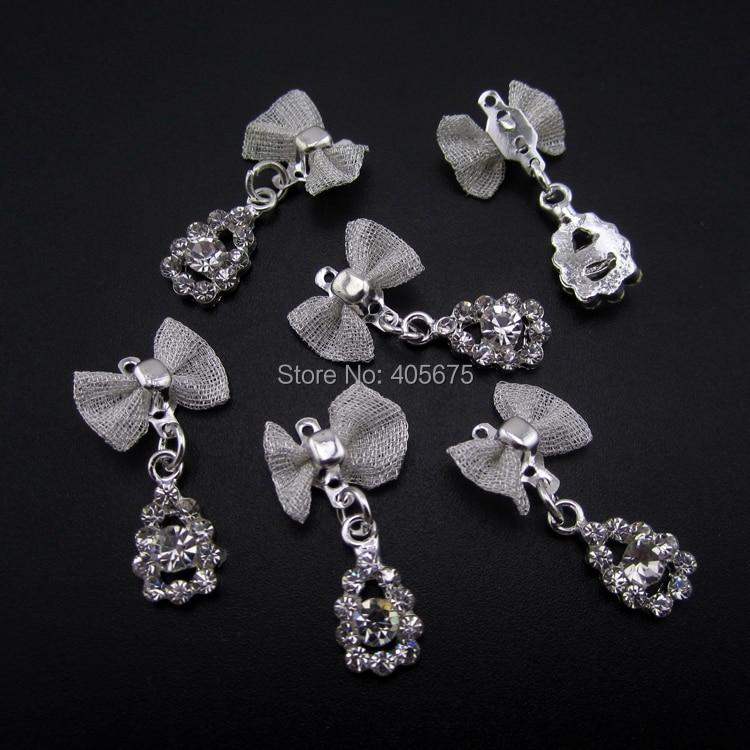 10pcs silver drop bows nail art chain pendant 3d alloy nail jewelry ...