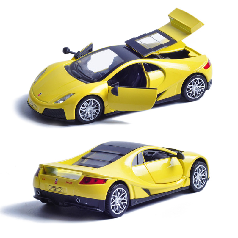 Collectible Car Models 1 32 Yellow Remote Control Alloy Diecast Car Model Toy Vehicles Electronic Car