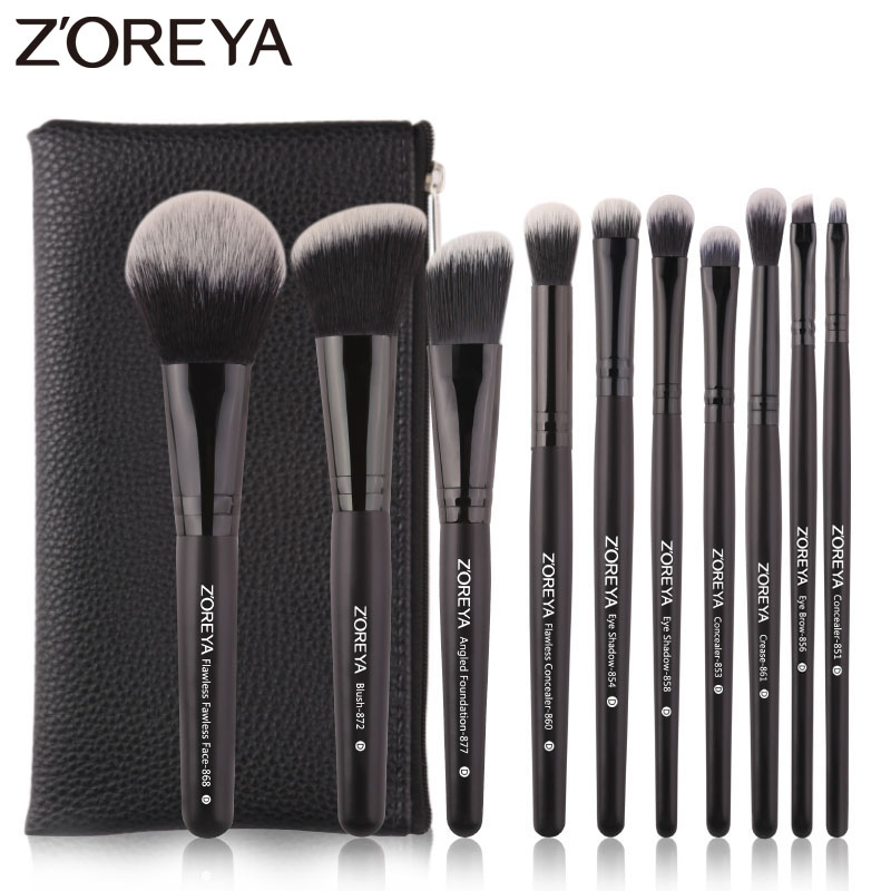 Zoreya Brand Black Makeup Brushes 10pcs Synthetic Fibers Cosmetic Kit Crease Eye Brow Blush Powder Brush For Make Up Beginner dark blue makeup brush