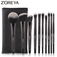 Zoreya брендовые черные кисти для макияжа 10 шт. синтетические волокна косметический набор складки бровей Румяна кисти для макияжа Начинающий