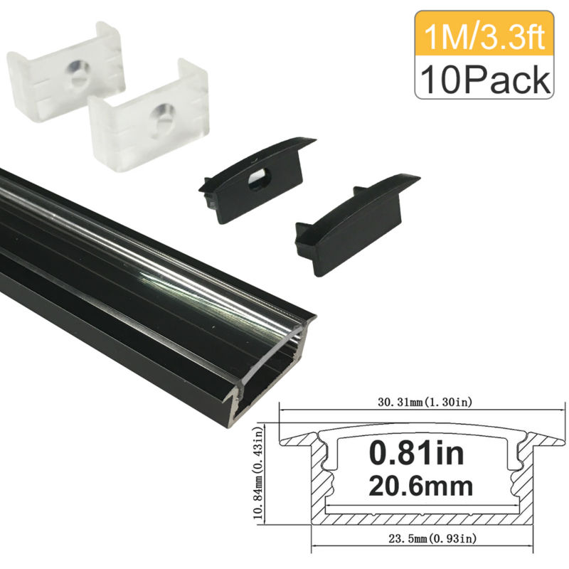 10M / lote 10X1M (3.3 pies) Negro en forma de U 20 mm Aluminio Kit de - Iluminación LED