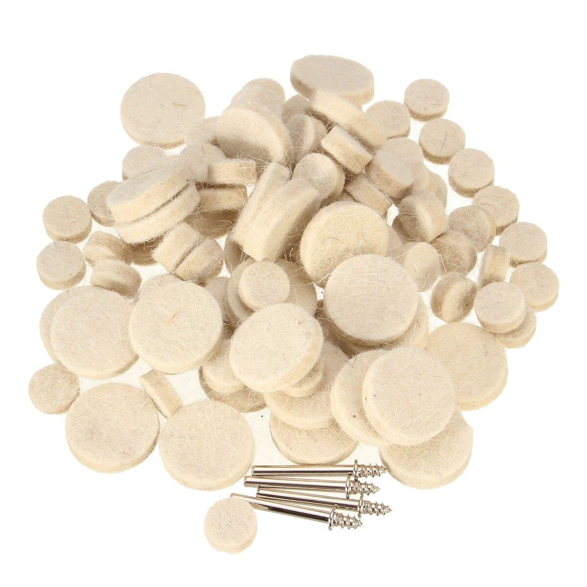 100pcs Polishing Pad Soft Felt Polishing Wheel Set With Mandrels For Dremel Rotary Tools Smooth Soft Polishing Buffer Kit