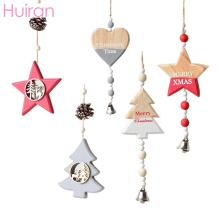 HUIRAN Wooden Christmas Ornaments Wood Star Pendants Tree Decorations Decoration for Home Xmas Decor Navidad