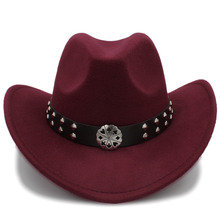 bef0f2699dd1d Sombrero vaquero occidental hueco de lana de mujer a la moda Sombrero de  vaquero para Hombre gorra vaquera para mujer Sombrero d.