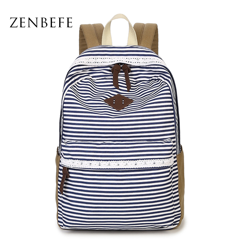 ZENBEFE Kanvas Backpack Striped Women Backpack Backpack Capacity School For Teenage Girl Travel Travel Quality Daypack Backpack Mochila
