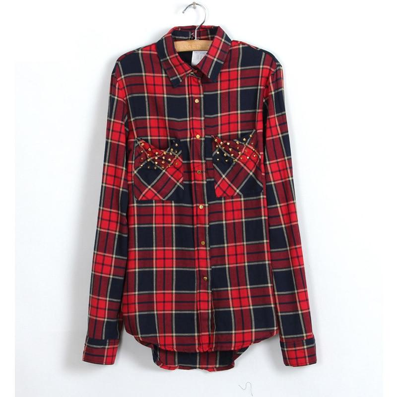 Womens Red font b Tartan b font Plaid Cottton Shirt 2016 Spring Collar Chest Rivet Double