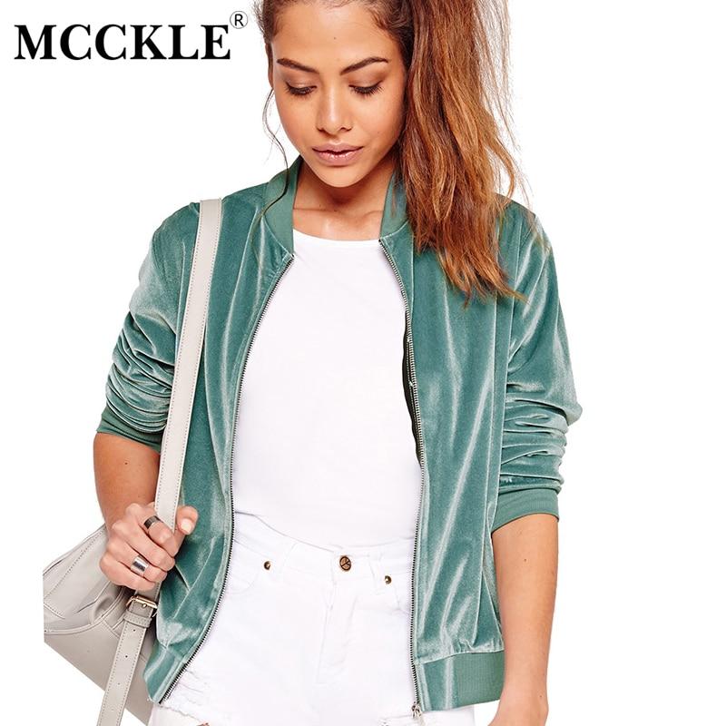 MCCKLE 2017 Autumn font b Women b font Velvet Bomber font b Jacket b font Ladies