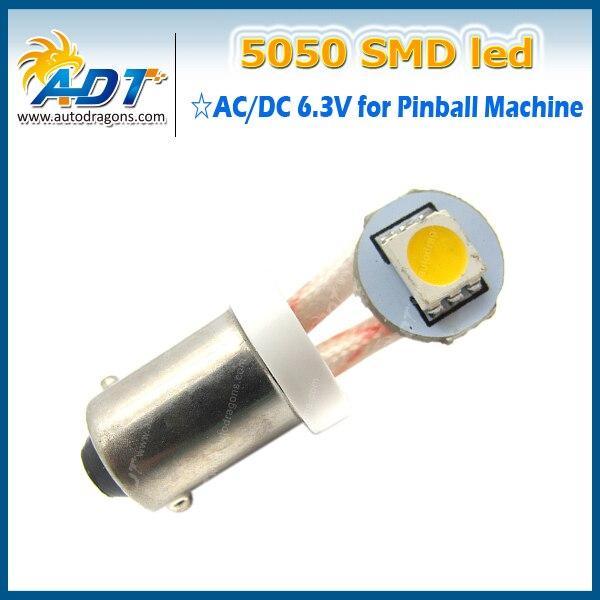 100 PCS #Ba9s #44 #47 Bayonet AC DC 6V/6.3V 1w 1 LED 5050SMD LED Pinball Machine Parts Light Bulb Lamp anti flicker with 2 wires