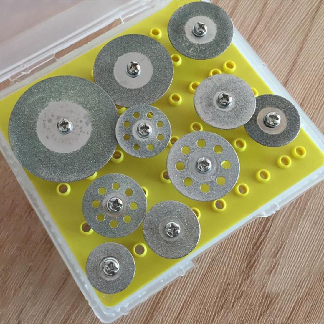 ¡Caliente! 10 unids diamante discos de corte rueda de retención set para dremel Rotary herramienta de corte/molienda/grabado herramientas
