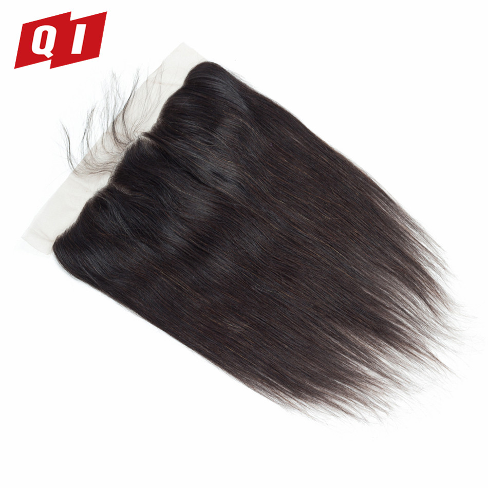 QI Hair 100% Non-Remy Malaysian Straight Hair 13*4 Lace Frontal Closure Natural Color 100% Human Hair Middle/Free/Three Part
