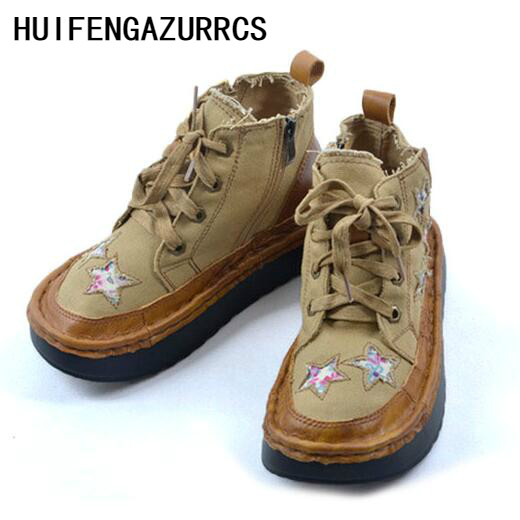 цена HUIFENGAZURRCS-2018 spring new retro genuine leather casual martin boots, women's handmade thick bottomed muffin short boots в интернет-магазинах