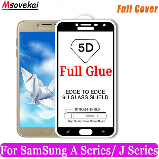 5D 9D Full Glue Tempered Glass For SAMSUNG Galaxy A3 A5 2017 A7 2017 J2 J5 Prime J3 J5 2017 On6 Full Cover Screen Protector Film