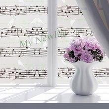 Cartton Note birds window stained glass film sticker Home Decor toning Music Studio door Self-adhesive Stickers 45/60*500cm