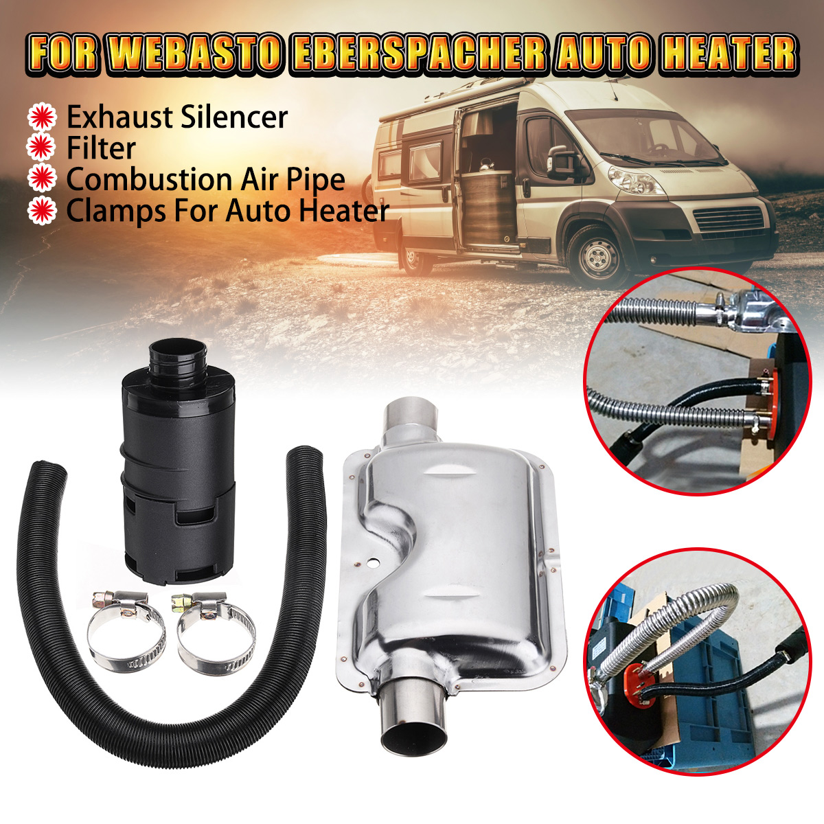 3Pcs 24mm Exhaust Silencer+25mm Filter+Combustion Air Intake Filter Pipe Throat Hoop Clamps for Webasto Eberspacher Auto Heater