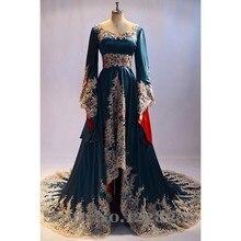 2016 Arapça Abiye giyim Boncuklu Aplikler Dubai Abaya Kaftan Müslüman Artı Boyutu Abiye Uzun Kollu Boncuklu Vestidos