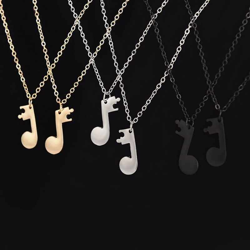 2pcs/set Music Note Pendant Necklaces Personalized Design Best Friend Necklace Couple Music Necklace Simple Fashion Jewelry