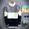 2016 Autumn winter male fashion color contrasted sweaters mens full sleeve o-neck elastc pullover knitted sweater