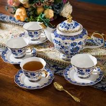 Эмаль костяного фарфора керамическая посуда синяя и белая чашка для кофе кружка с молочным чайником ложка для блюдца Позолоченный Комплект полок набор