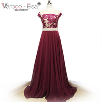Fast Shipping Woman Lace Top Long Evening Dress burgundy red Elegant Vestido De Festa Longo Cheap Prom Dresses 2018 with pearl