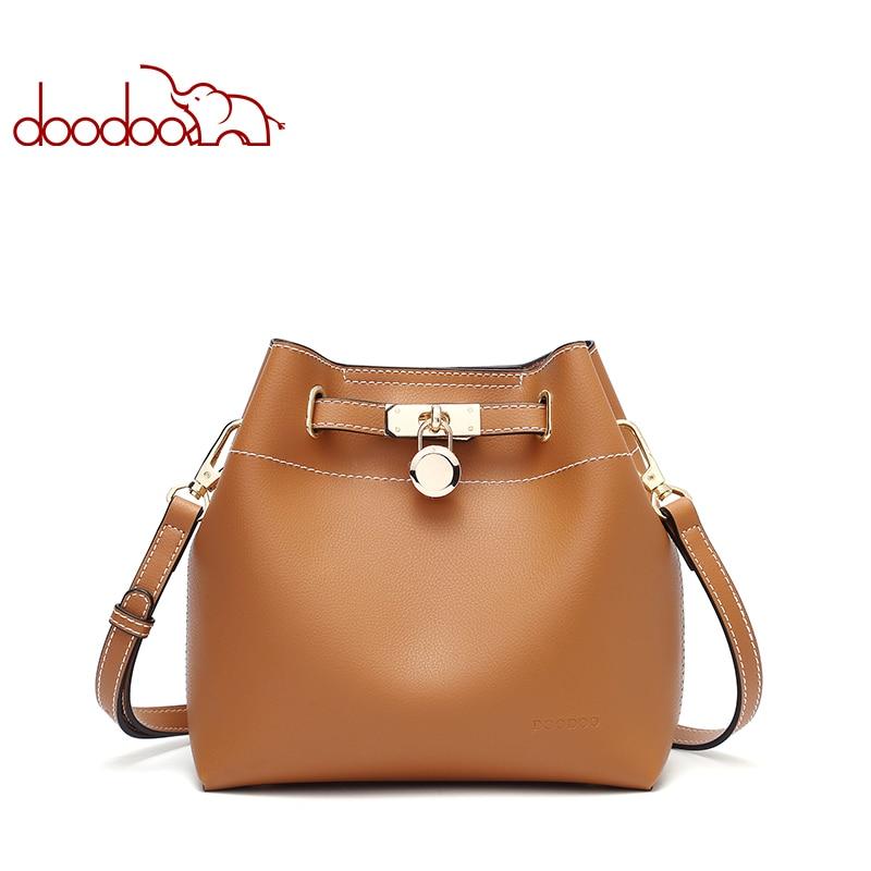 DOODOO High Quality Women bag Double strap female shoulder bags PU Leather Ladies Crossbody messenger Bags Solid Big Handbags