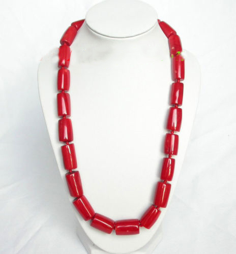 natural 20 20mm column red coral necklace natural red coral with silk knot design necklace
