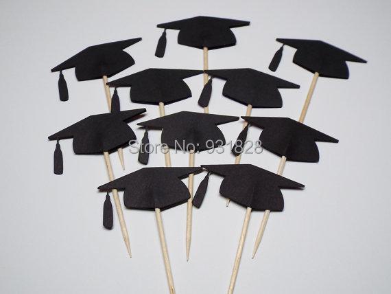Black Graduation Cap Cupcake Toppers/Food Picks graduation ...