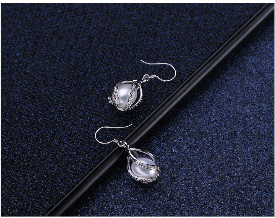 FENASY 925 Sterling Silve Freshwater Pearl Drop Dangle Earrings For Women Boho Statement Cage Long Earings Fashion Pearl Jewelry