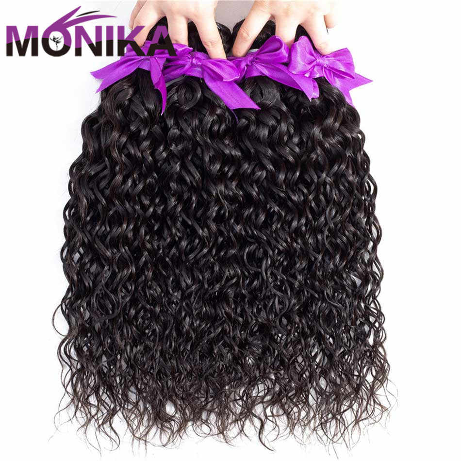 Monika Hair Brazilian Water Wave Bundles 100% Human Hair Weave Bundles Non Remy Hair Bundles Natural Color Hair Extension