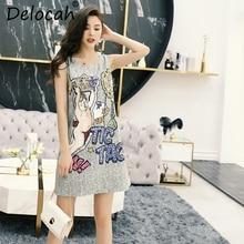 Delocah New Women Summer Dress Runway Fashion Designer Sleeveless Vest Gorgeous Crystal Angel Print Vintage Elegant Mini